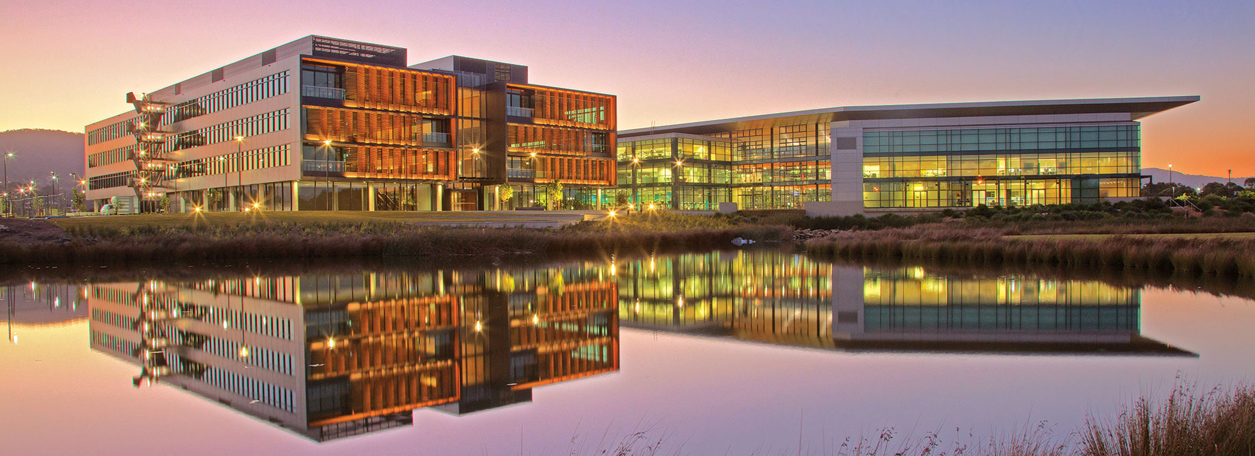 An image of the innovation campus at sunset