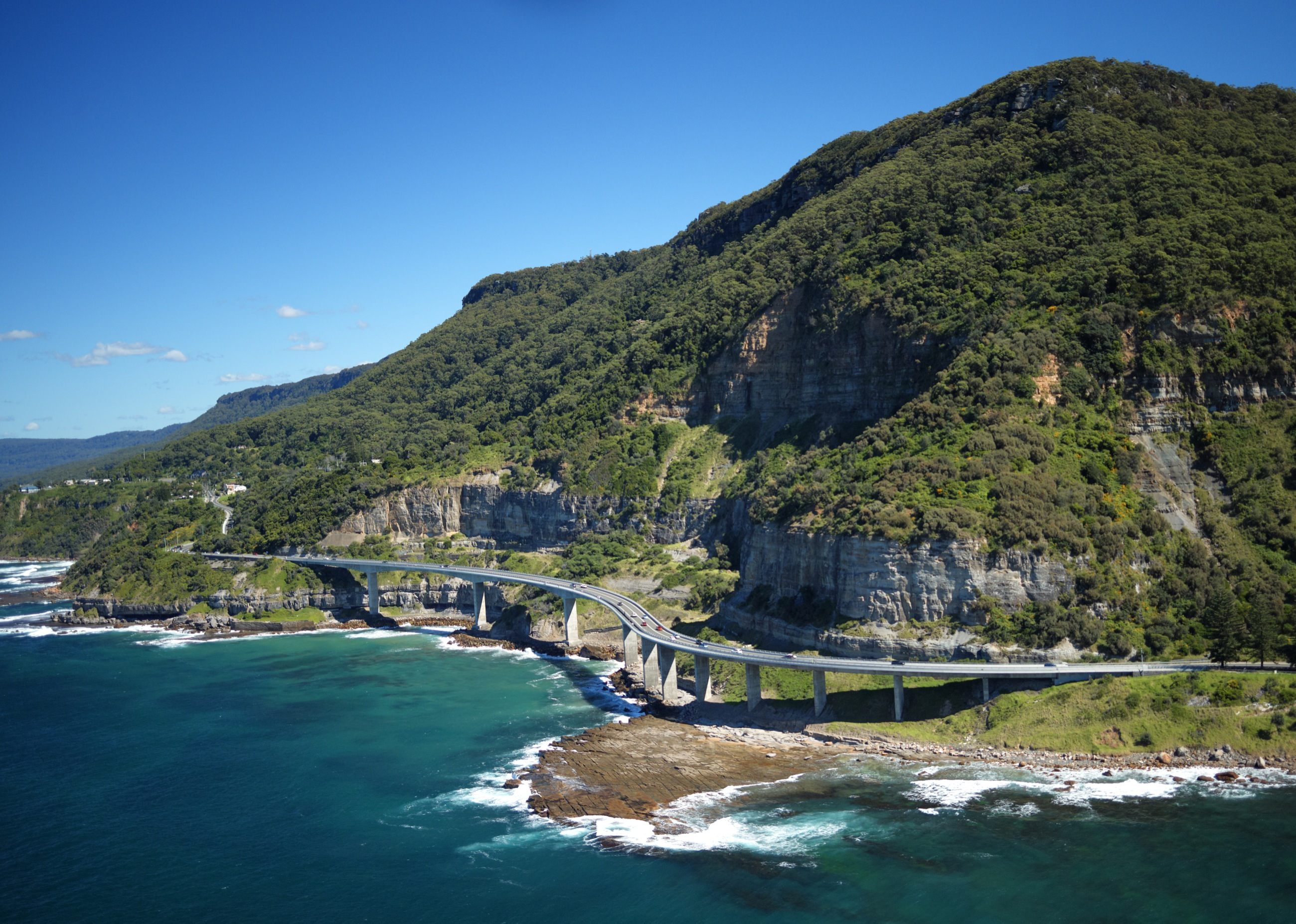 An aerial photograph of Seacliff Bridge